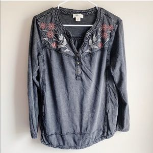 Style & Co Faded Gray Embroidered Floral Blouse
